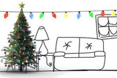 Christmas tree against room sketch — Stock Photo