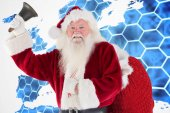 Happy santa ringing bell — Stock Photo