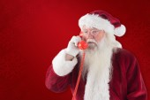 Santa on his red phone — Stock Photo