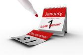 カレンダーを新しい年の決議 — ストック写真