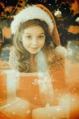 Imagen compuesta de fiesta niña con regalos — Foto de Stock