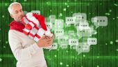 Festive man with gifts — Stock Photo
