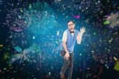 Hipster nerd dançando como uma idiota — Fotografia Stock