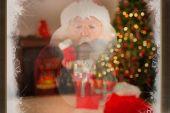 Santa claus blows something away — Stock Photo