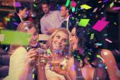 Pretty friends having a drink together — Photo