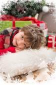 Festive little boy smiling — Stockfoto