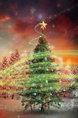 Christmas tree with falling snow — Stock Photo