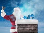 Santa Claus rings his bell — Stock Photo