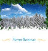 Christmas card against christmas scene — Zdjęcie stockowe