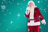 Santa sings like Superstar — Stock Photo