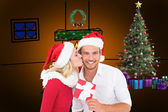 Young festive couple with gift — Foto de Stock