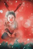 Festive little girl wearing red nose — Foto de Stock