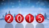 Composite image of 2015 baubles — Stockfoto