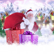 Santa carries his red bag and smiles — Stock Photo #62490141