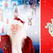 Santa pointing to christmas people collage — Stock Photo #62490445