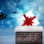 Santa flying against twinkling stars — Stock Photo #62491131