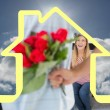 Man hiding bouquet of roses from smiling girl — Stock Photo #62492743