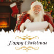 Happy santa writing list with a quill — Stock Photo #62495213