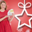 Pretty blonde in red dress showing her cash — ストック写真 #62496907