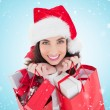 Brunette holding shopping bags full of gifts — Zdjęcie stockowe #62497029