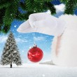 Santa claus holding red bauble — Stock Photo #62497325