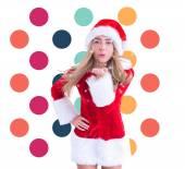 Pretty santa girl smiling at camera — Stock Photo