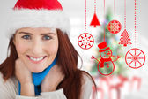 Composite image of festive redhead — Stock Photo