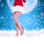 Lower half of sexy santa girl — Stock Photo