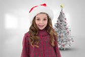 Immagine composita della ragazza sveglia in cappello della santa — Foto Stock