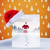 Santa delivery presents to village — Stock fotografie