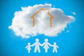 Cloud in shape of family — Stock Photo