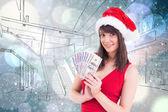 Morena festiva mostrando seu dinheiro — Fotografia Stock