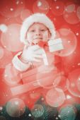 Cute little boy in santa costume — Stock Photo