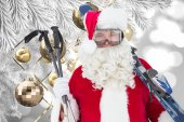 Happy santa posing with ski and ski poles — Fotografia Stock