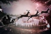 Silhouette of santa claus and reindeer — Stock Photo