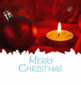 Merry christmas against candle — Foto Stock