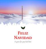 Feliz navidad against snowy landscape — Zdjęcie stockowe
