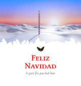 Feliz navidad against snowy landscape — Foto de Stock