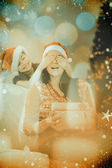 Daughter surprising her mother with christmas — Stock Photo