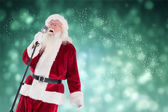 Santa sings like a Superstar — Stock Photo
