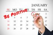 Resoluciones de año nuevo en calendario de enero — Foto de Stock