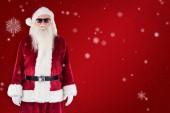 Santa Claus bär svarta solglasögon — Stockfoto