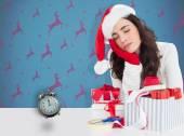 Brunette in santa hat napping — Stock Photo