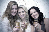 Pretty friends drinking champagne together — Stock Photo