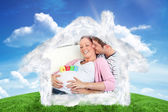 Composite image of portrait of a merry pregnant woman with baby  — Stockfoto