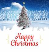 Christmas card against christmas tree — Stock Photo