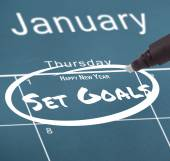 New years resolution on calendar — Stockfoto