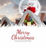Santa delivery presents to village — Foto de Stock