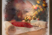 Santa claus is watching happy — Stock Photo