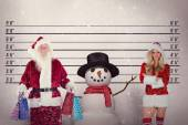 Santa carries some Christmas bags — Stock Photo